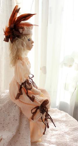 bjd doll creme dress